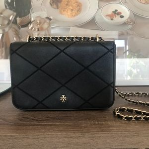 Tory Burch Crossbody Purse with Gold Tone Chain
